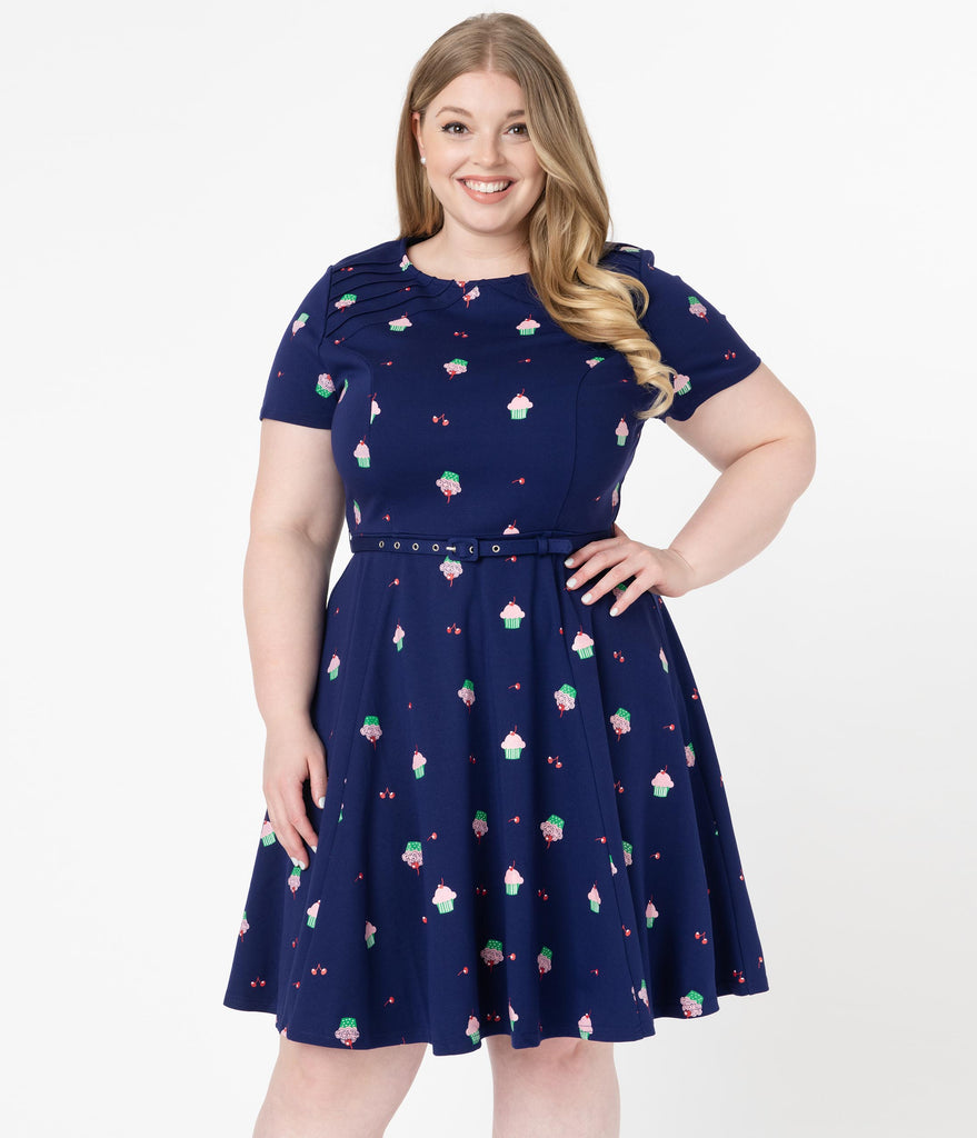 Unique Vintage Plus Size Navy & Cupcake Print Stephanie Fit & Flare Dress