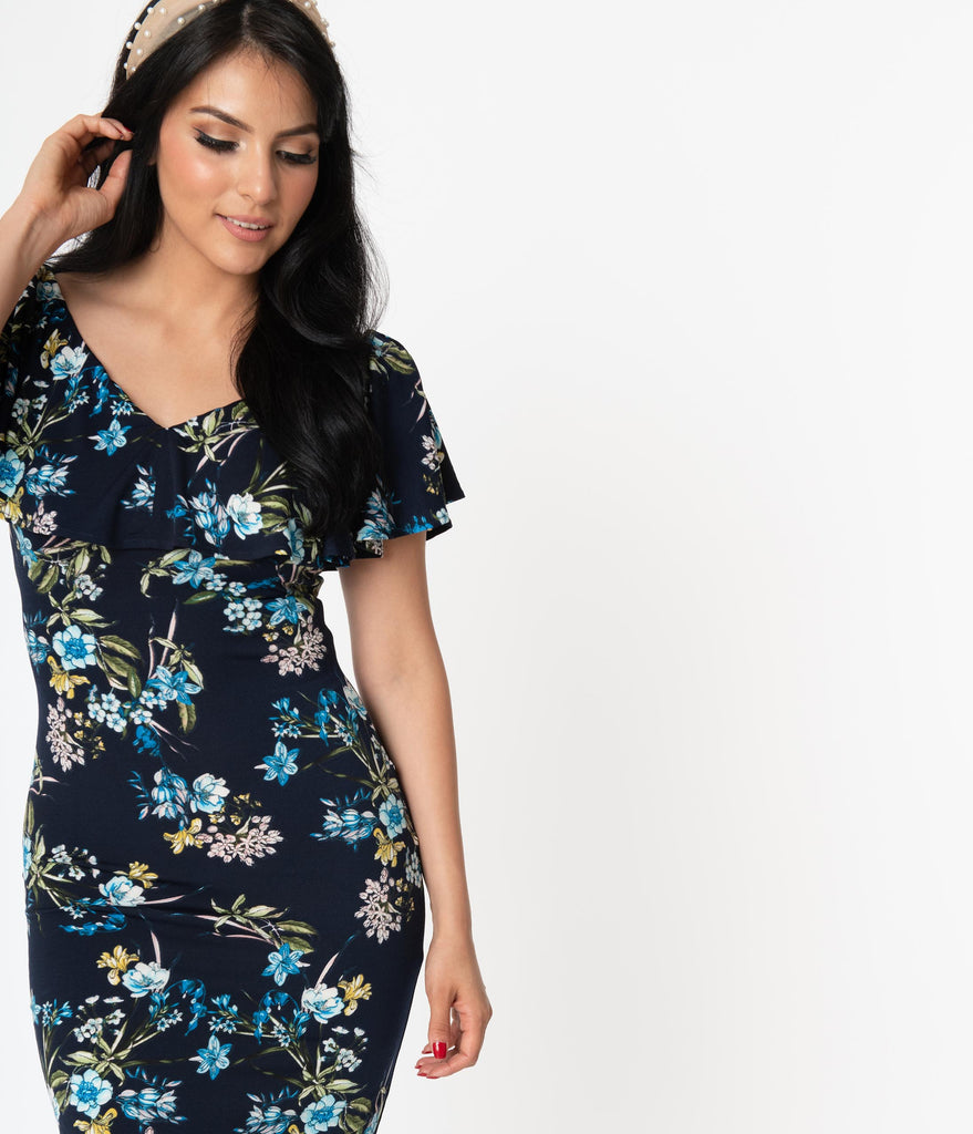 Unique Vintage Navy & Blue Floral Sophia Wiggle Dress