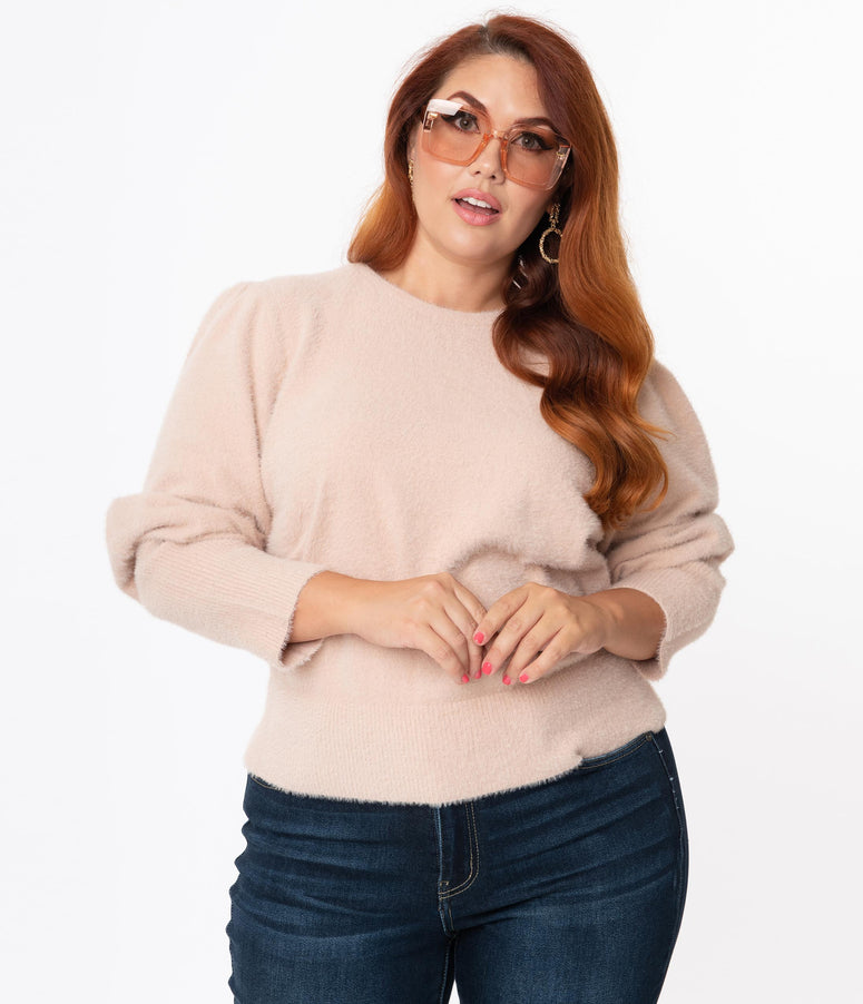 Plus Size Vintage Style Light Pink Plush Puff Sleeve Sweater