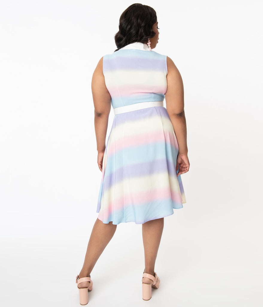 Unique Vintage Plus Size Pastel Rainbow Ombre Gigi Shirtdress