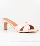 Retro Style Light Pink Embossed Crocodile Heels
