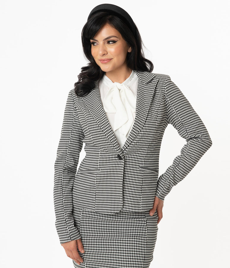 Unique Vintage Black & White Houndstooth Jagger Suit Jacket