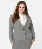 Unique Vintage Plus Size Black & White Houndstooth Jagger Suit Jacket