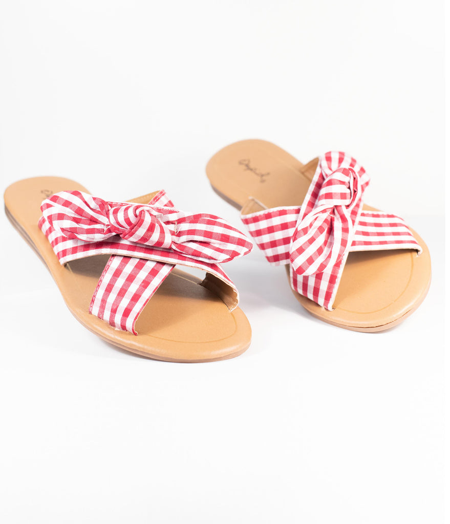 Retro Style Red & White Gingham Sandals