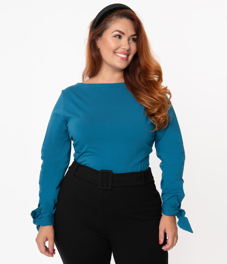 Plus Size Turquoise Long Sleeve Bow Tie Cuff Top