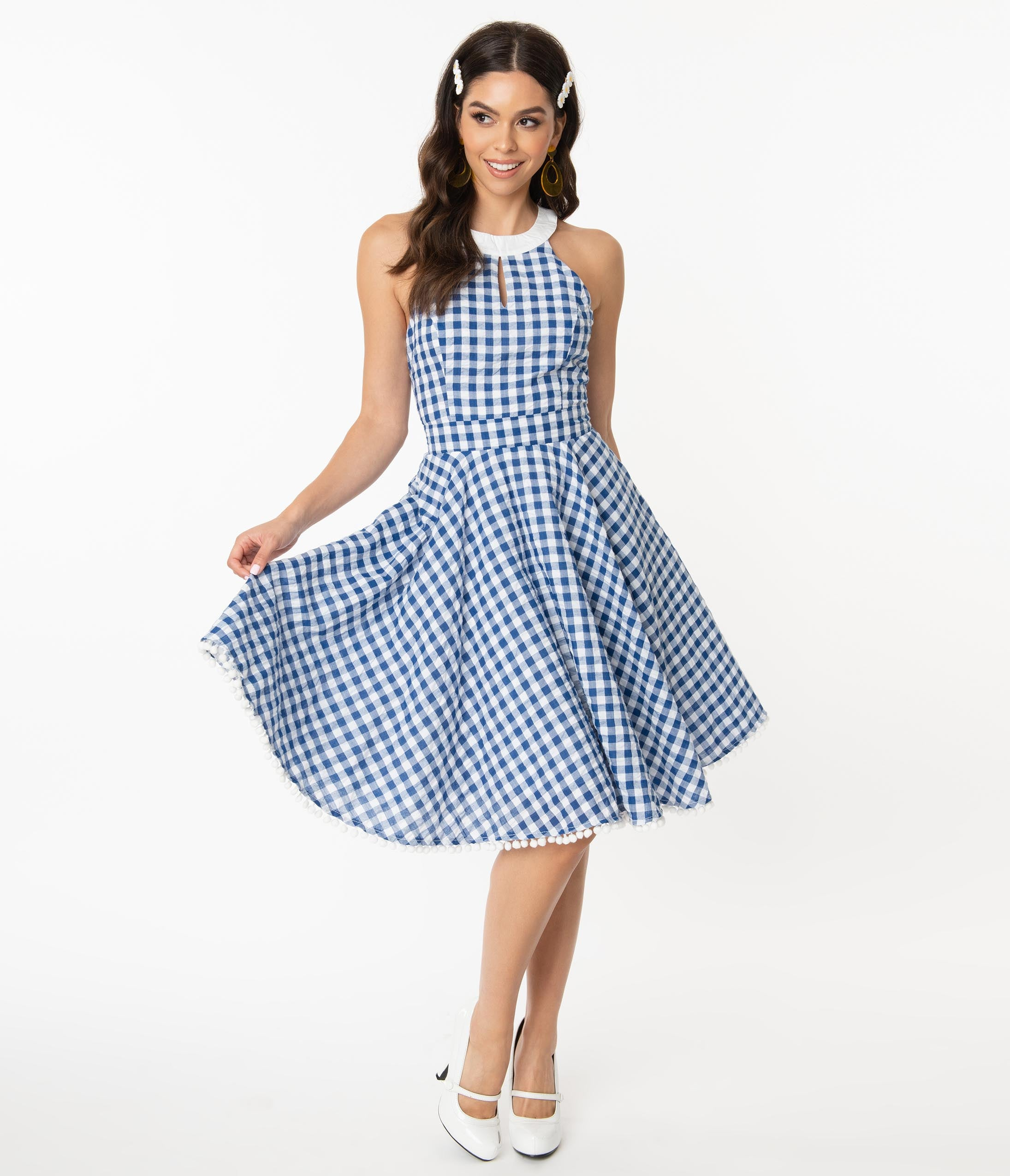 1950s Inspired Fashion: Recreate the Look Smak Parlour Navy  White Gingham Make Me Over Flare Dress $78.00 AT vintagedancer.com