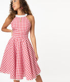 Smak Parlour Red & White Gingham Make Me Over Flare Dress