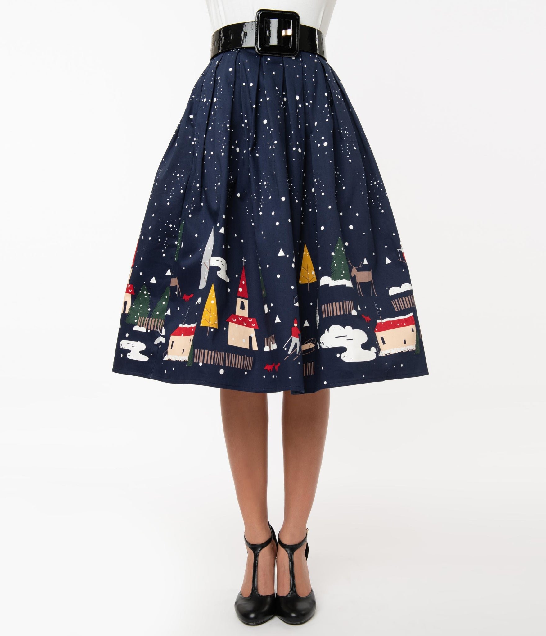1950s Christmas Town Pleated Swing Skirt