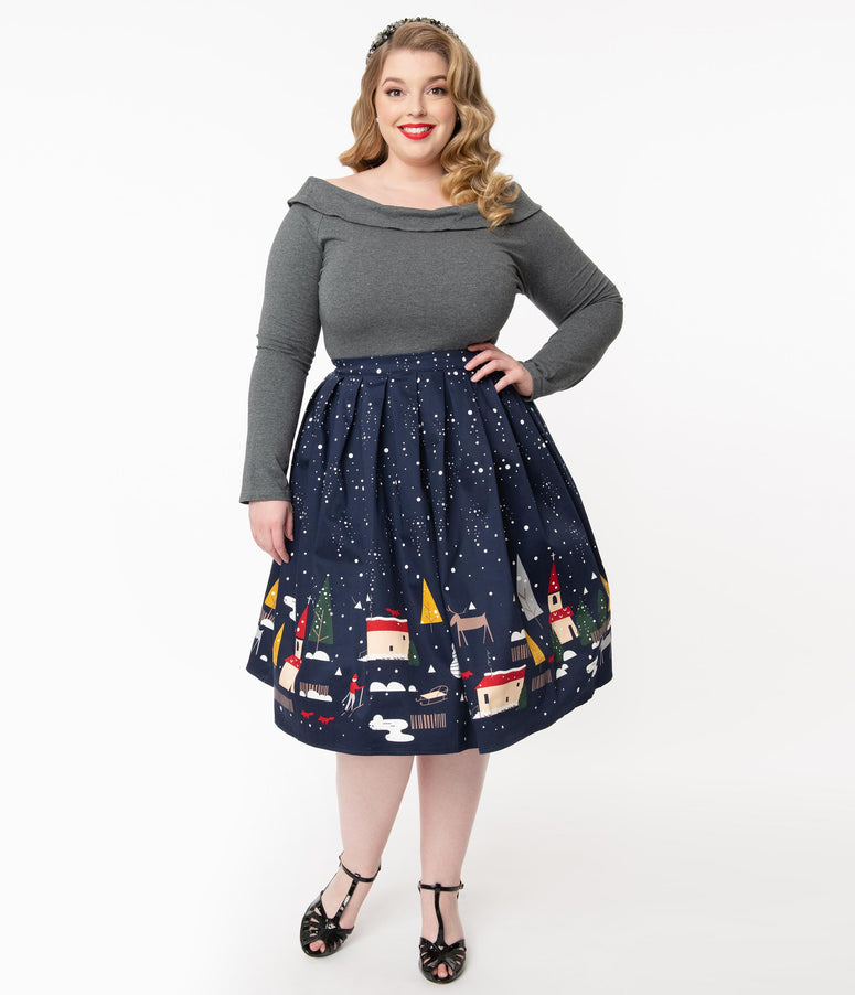 Plus Size 1950s Christmas Town Pleated Swing Skirt