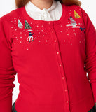 Plus Size Red Christmas Town Embroidered Cardigan
