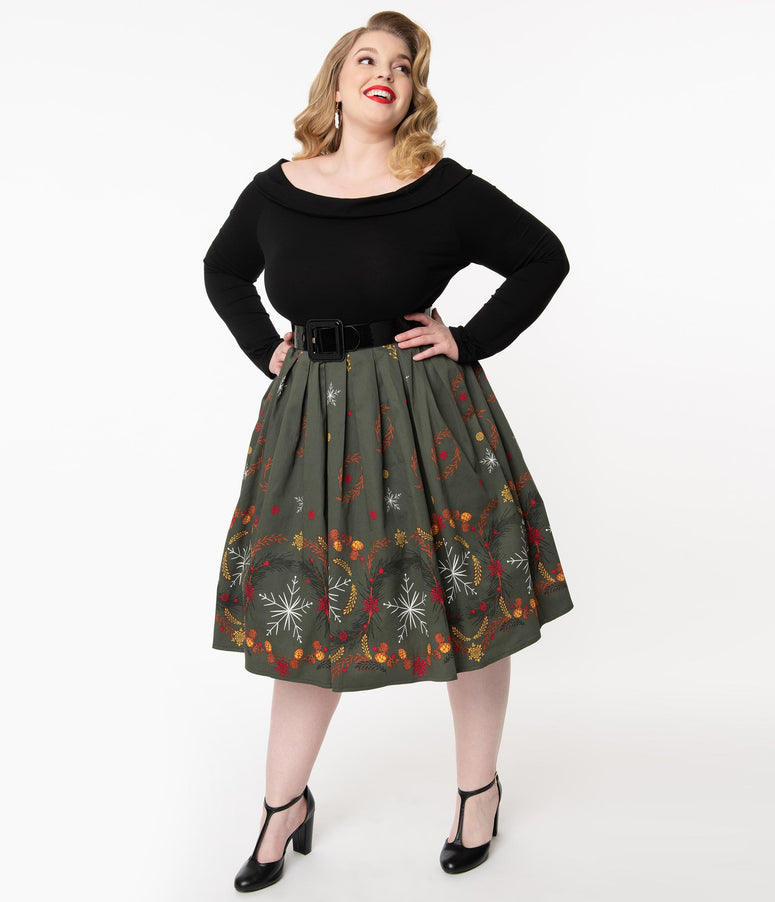 Plus Size 1950s Olive & Winter Leaves Print Pleated Swing Skirt