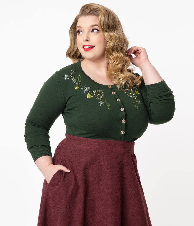 Plus Size Olive & Embroidered Winter Berries Cardigan