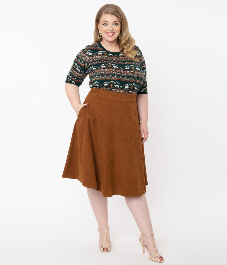 Plus Size 1950s Brown High Waist Sophisticated Swing Skirt