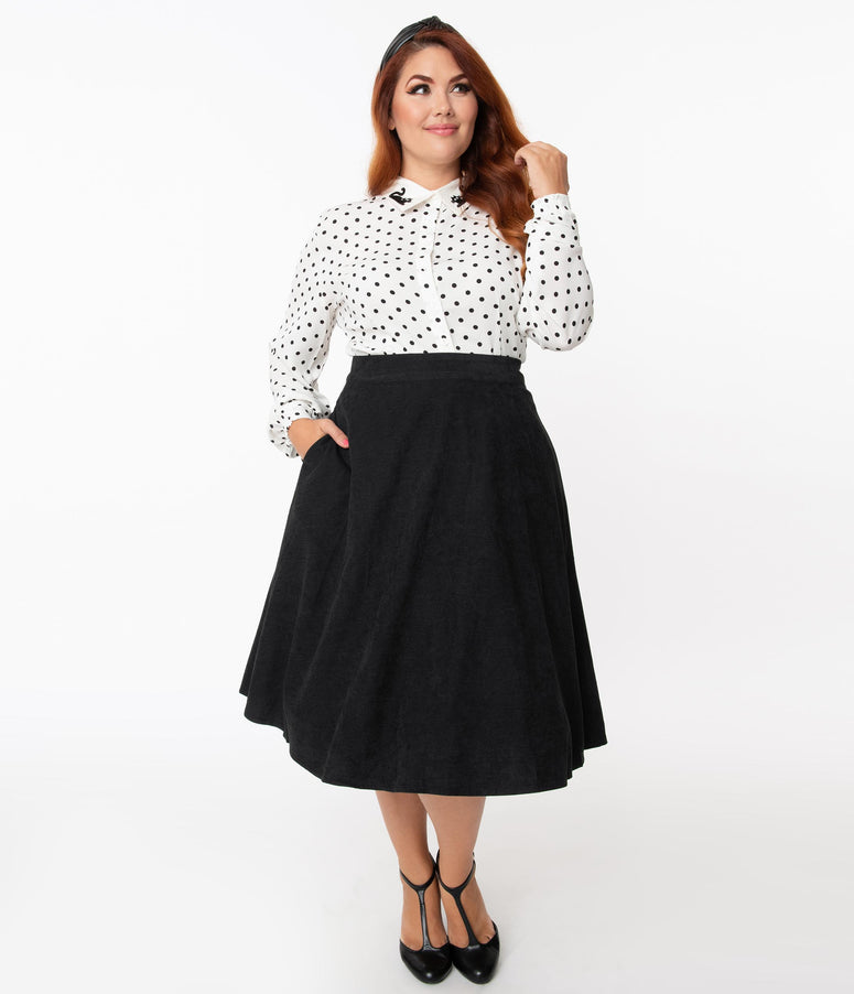 Plus Size 1950s Black High Waist Sophisticated Swing Skirt