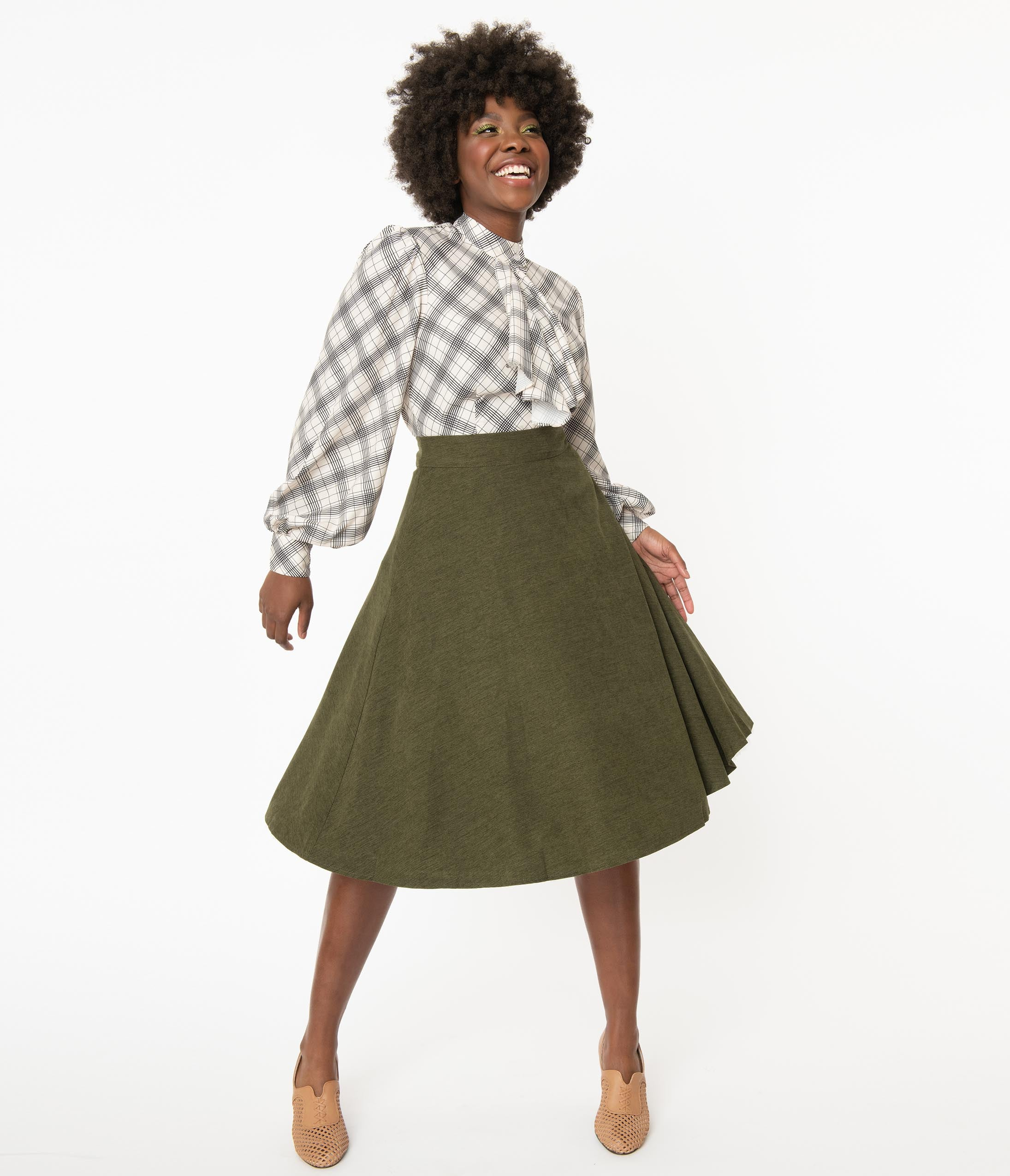 1950s Swing Skirt, Poodle Skirt, Pencil Skirts 1950S Olive Green High Waist Sophisticated Swing Skirt $48.00 AT vintagedancer.com