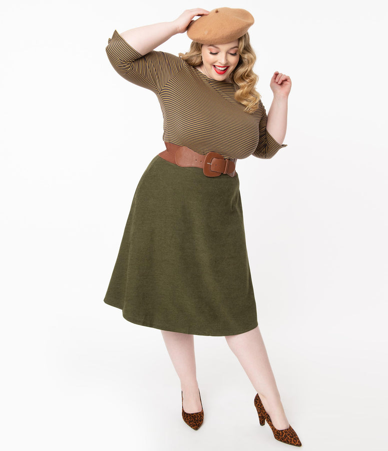 Plus Size 1950s Olive Green High Waist Sophisticated Swing Skirt