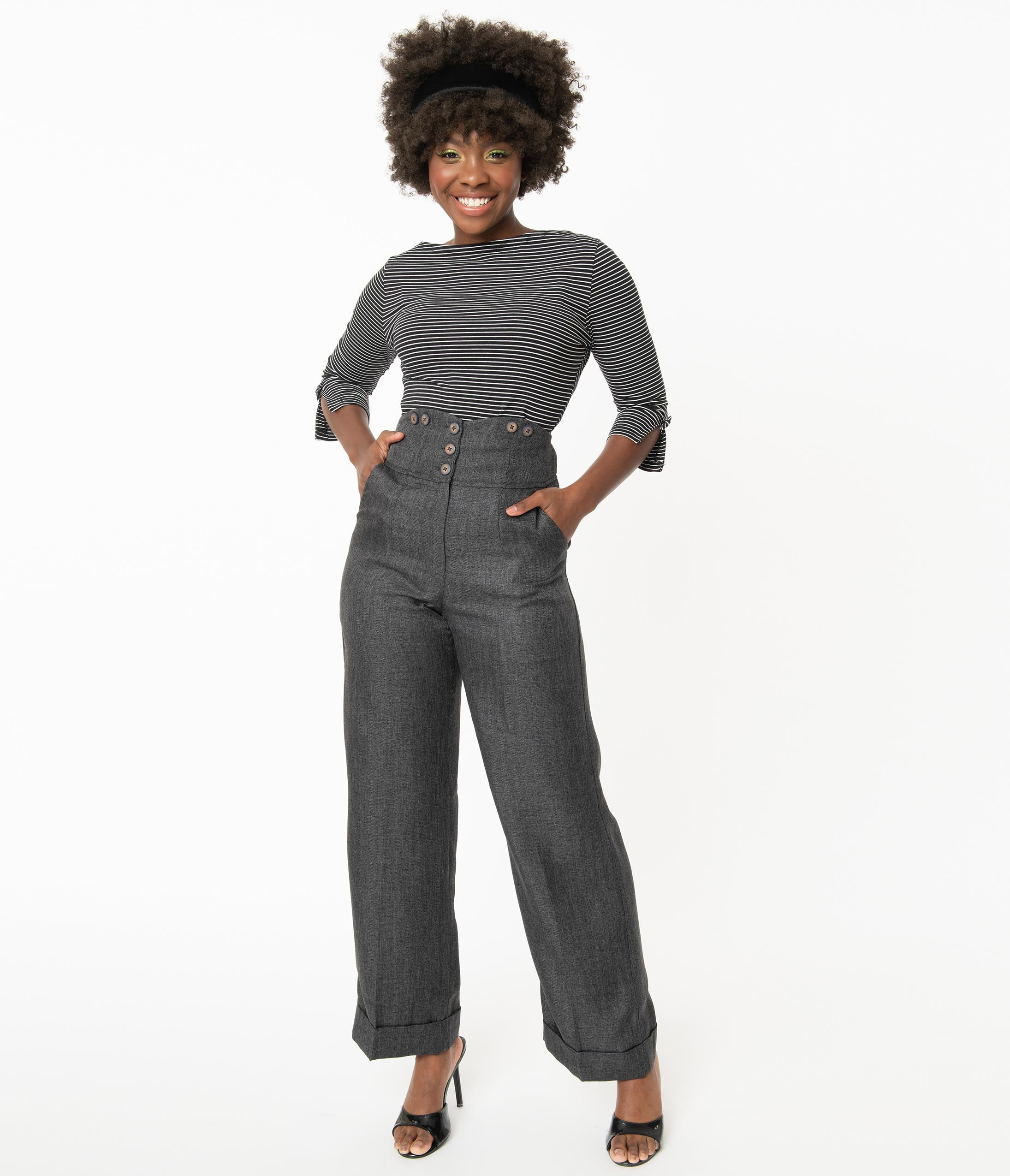 1980s Clothing, Fashion | 80s Style Clothes 1950S Style Grey High Waist Pants $58.00 AT vintagedancer.com