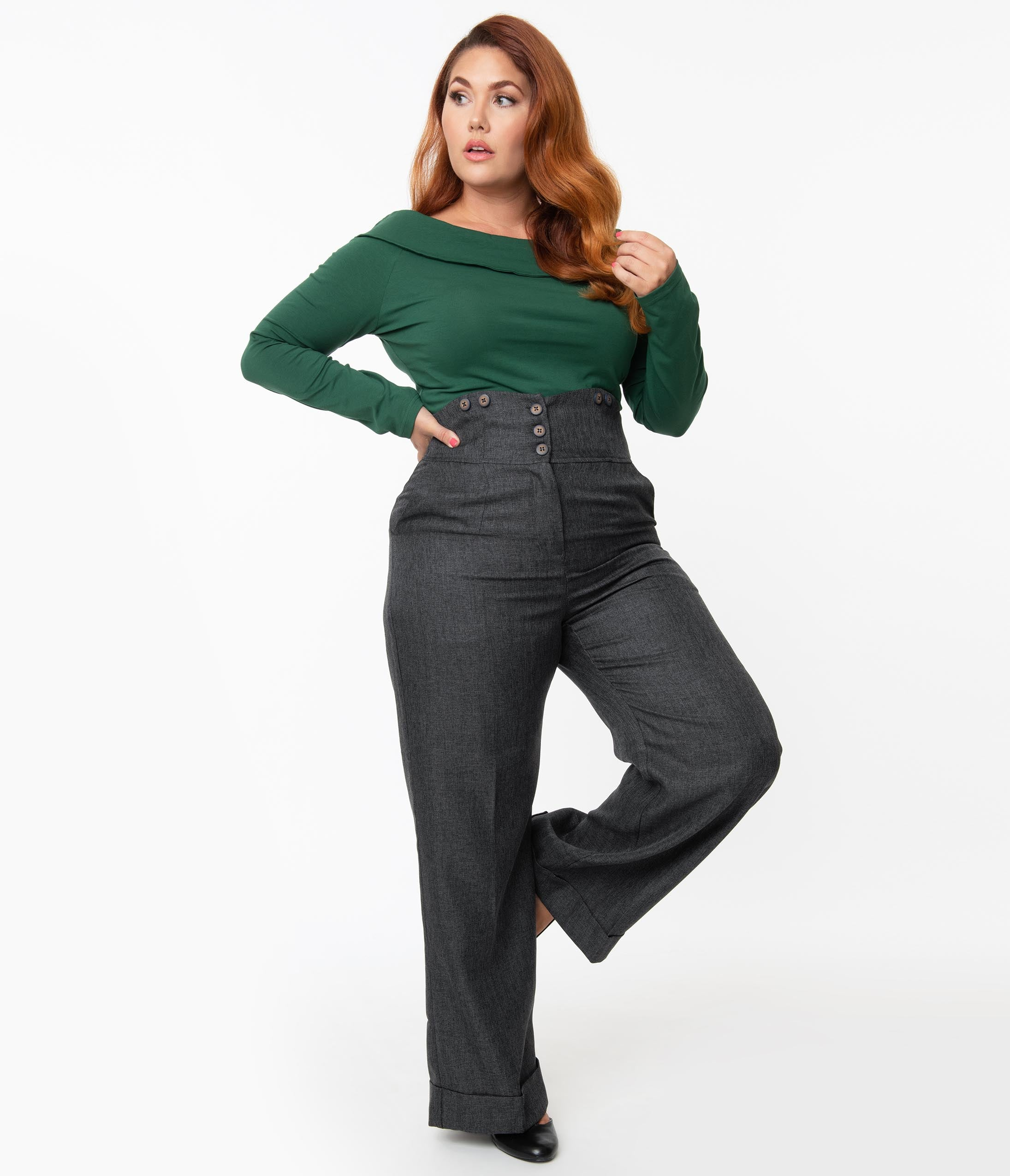 1950s Pants History for Women Plus Size 1950S Style Grey High Waist Pants $58.00 AT vintagedancer.com