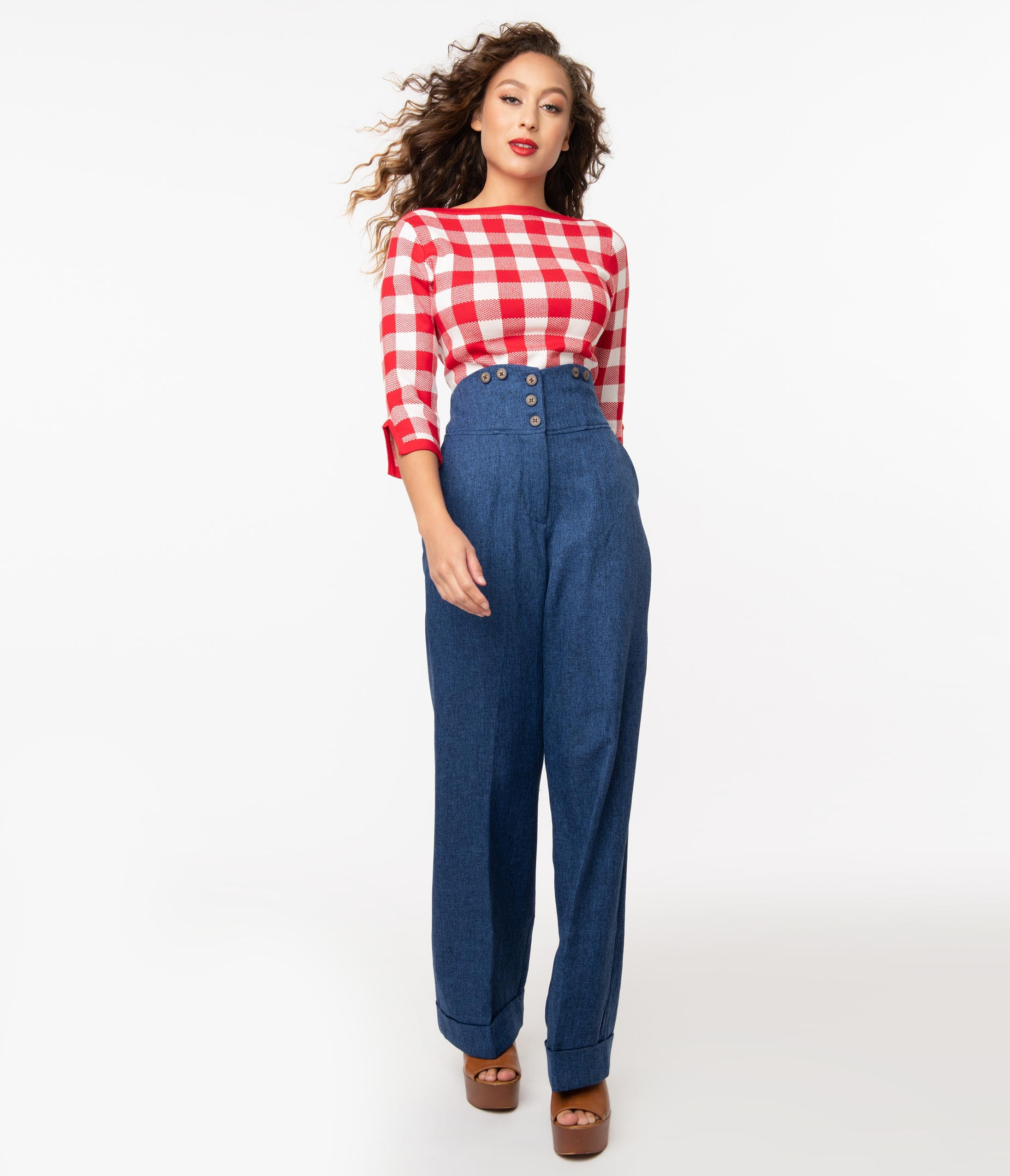 Vintage High Waisted Trousers, Sailor Pants, Jeans 1950S Style Blue High Waist Pants $58.00 AT vintagedancer.com