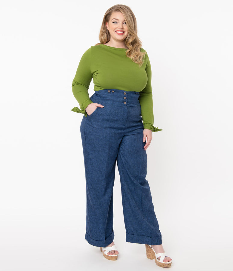 Plus Size 1950s Style Blue High Waist Pants