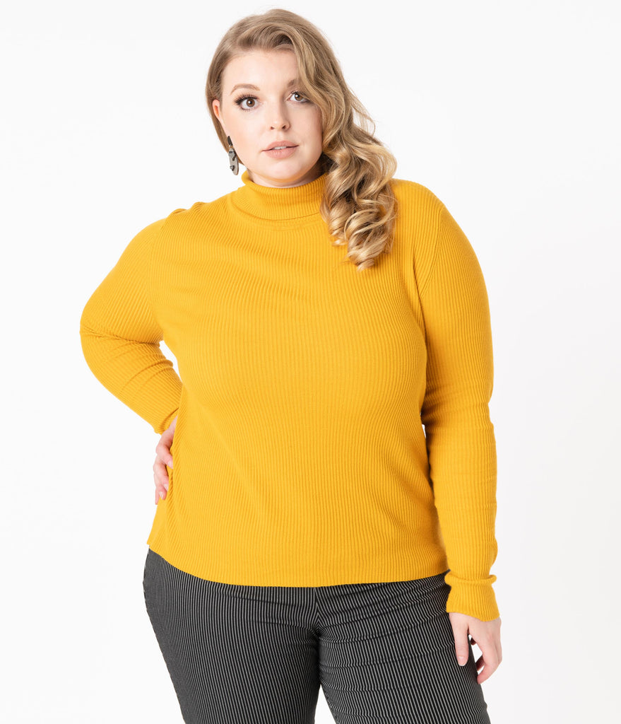 Hell Bunny Plus Size Mustard Turtleneck Spiros Top