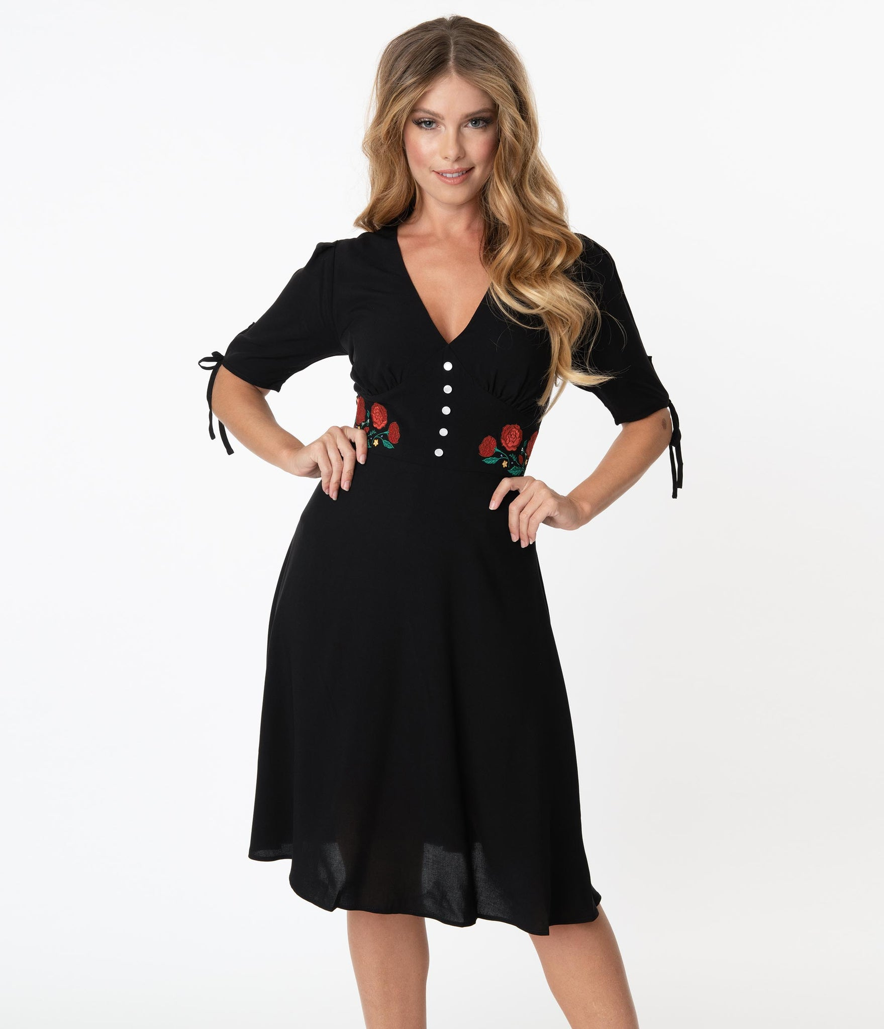 Hell Bunny Black Jacqueline Swing Dress