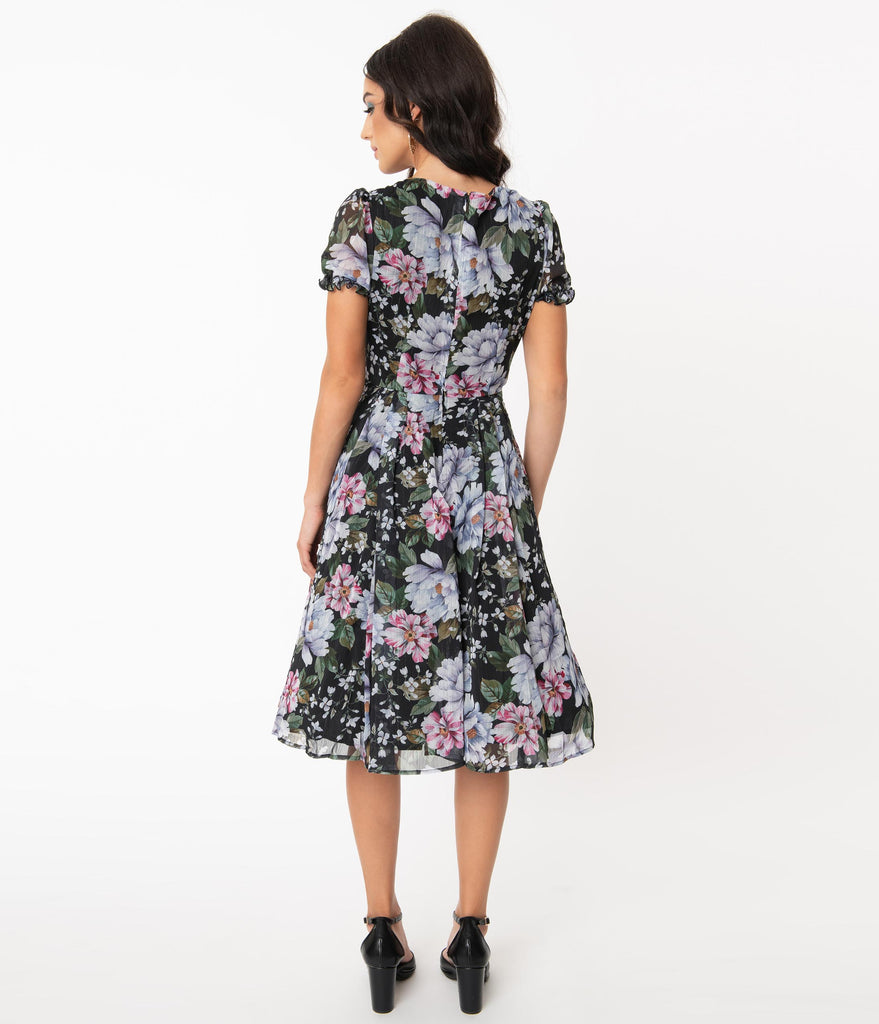 Hell Bunny Pink & Blue Floral Magnolia Swing Dress