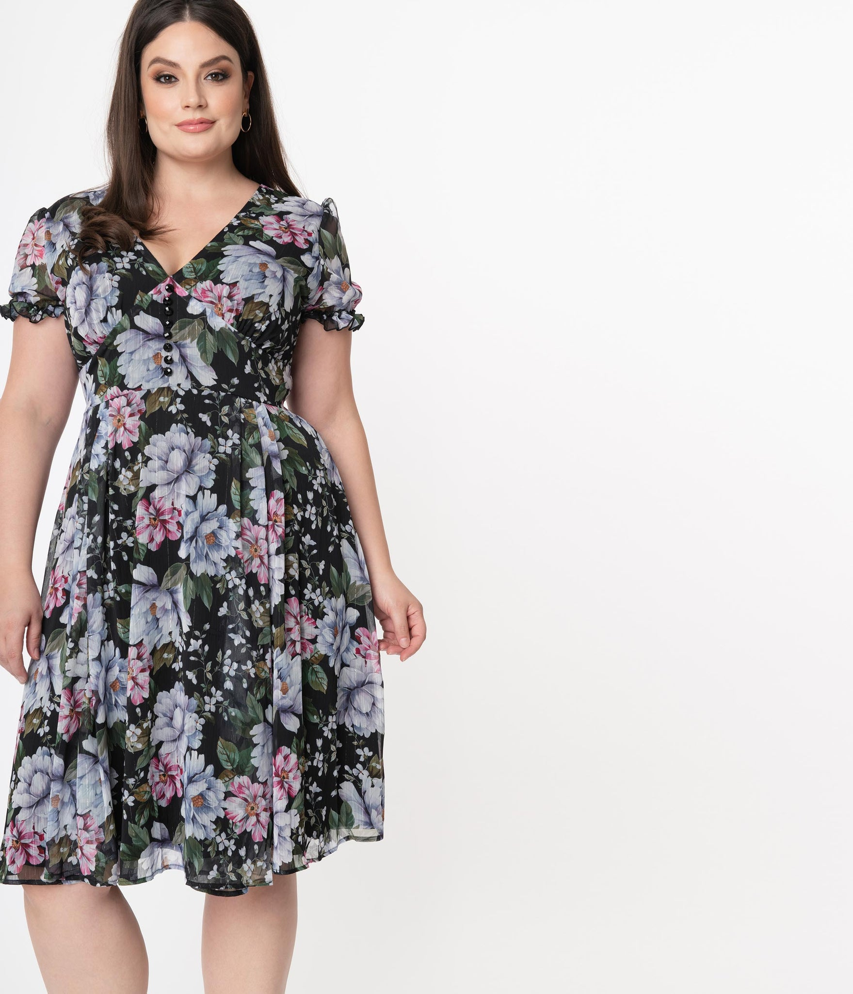 Hell Bunny Plus Size Pink & Blue Floral Magnolia Swing Dress