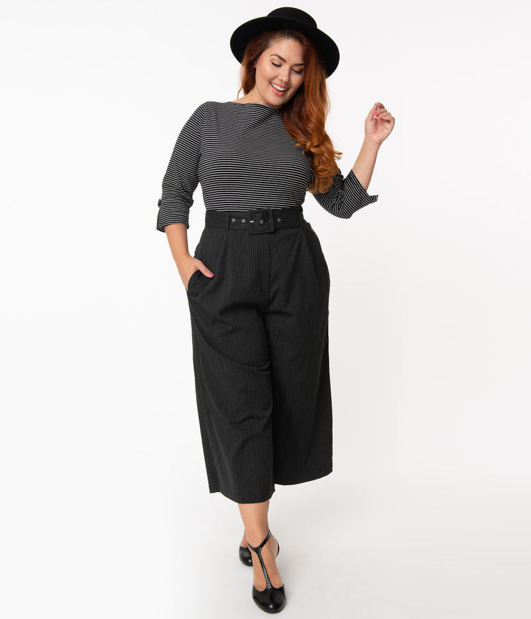 Hell Bunny Plus Size Black & White Stripe Benny Culottes