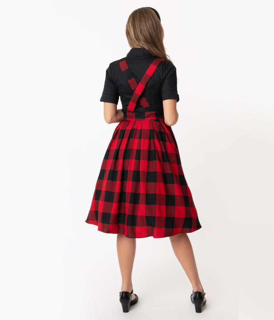 Hell Bunny Red & Black Plaid Teen Spirit Pinafore Skirt