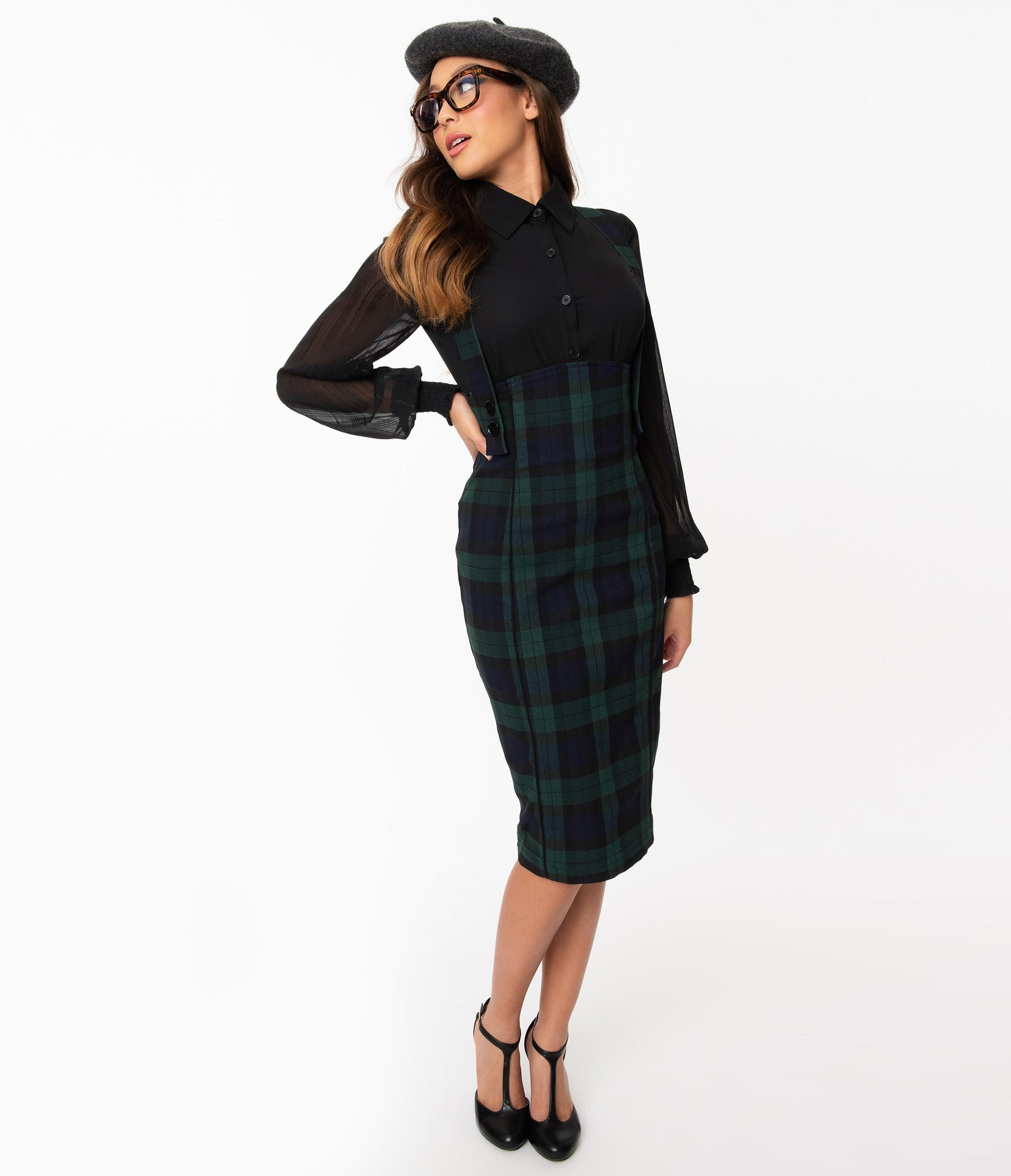 Hell Bunny 1960s Emerald & Navy Plaid Evelyn Pinafore Skirt