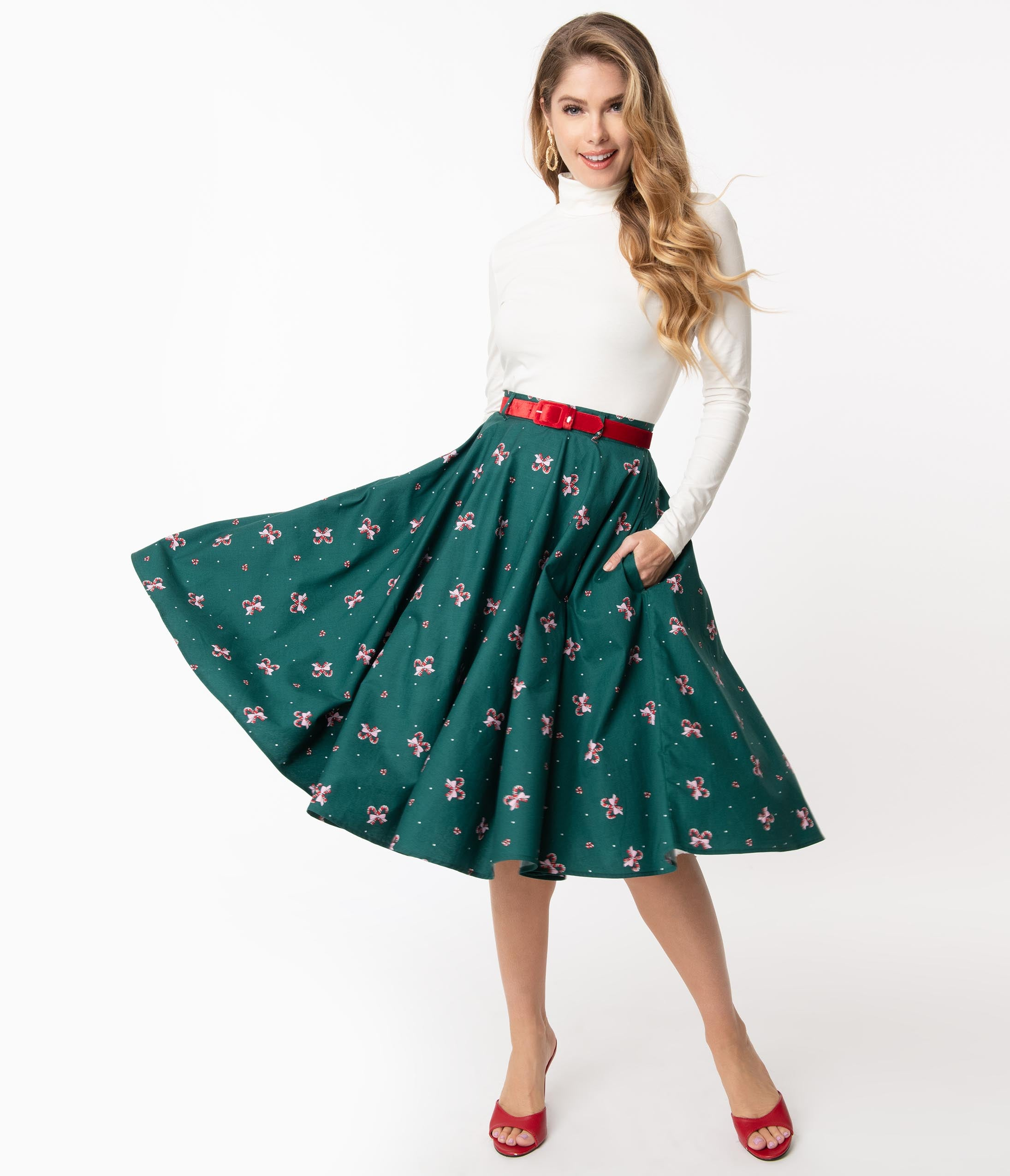 50s Skirt Styles | Poodle Skirts, Circle Skirts, Pencil Skirts 1950s Hell Bunny 1950S Emerald  Candy Cane Beth Swing Skirt $62.00 AT vintagedancer.com
