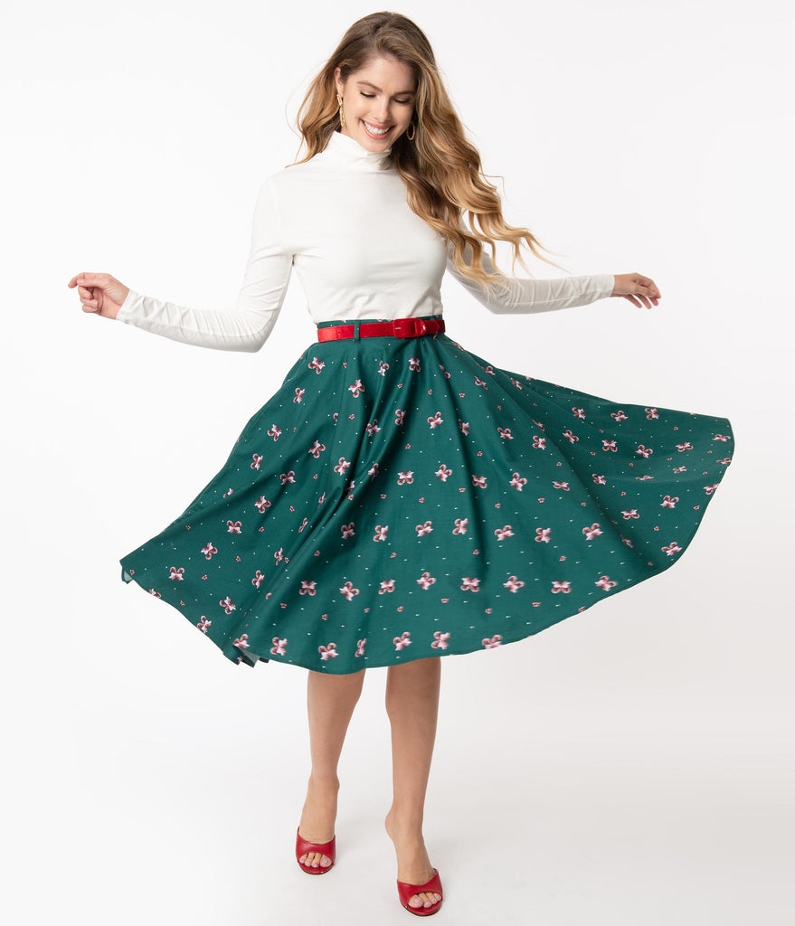 Hell Bunny 1950s Emerald & Candy Cane Beth Swing Skirt
