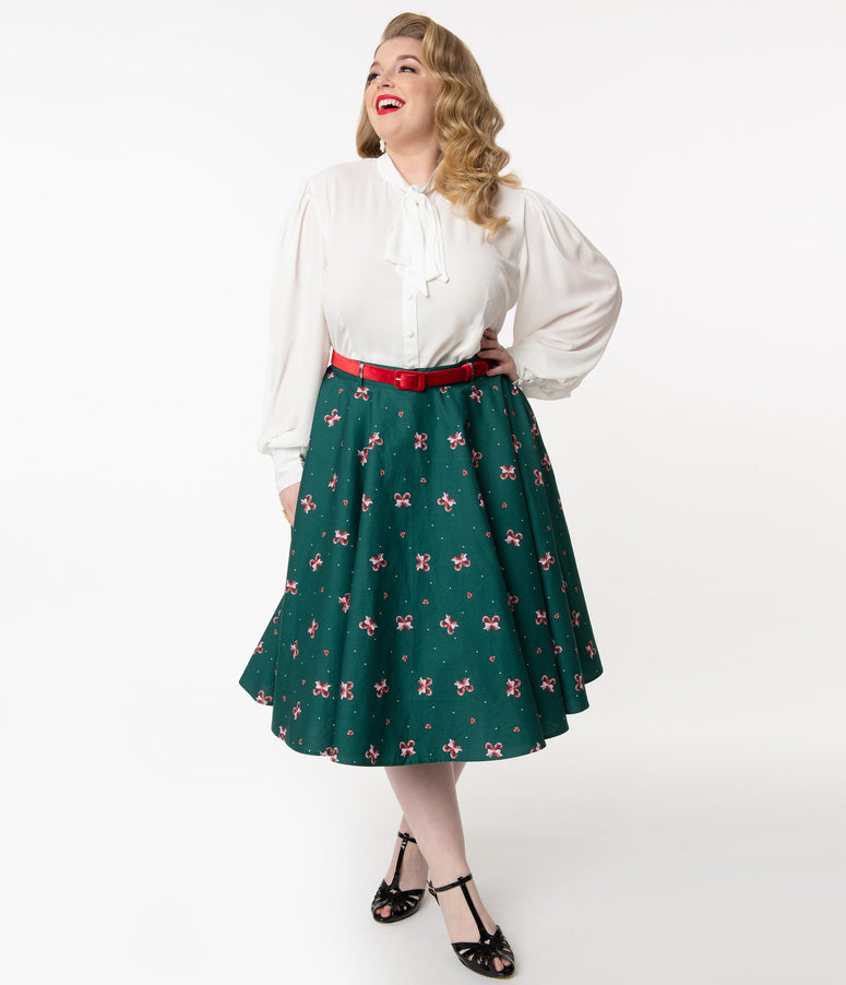 Hell Bunny Plus Size 1950s Emerald & Candy Cane Beth Swing Skirt