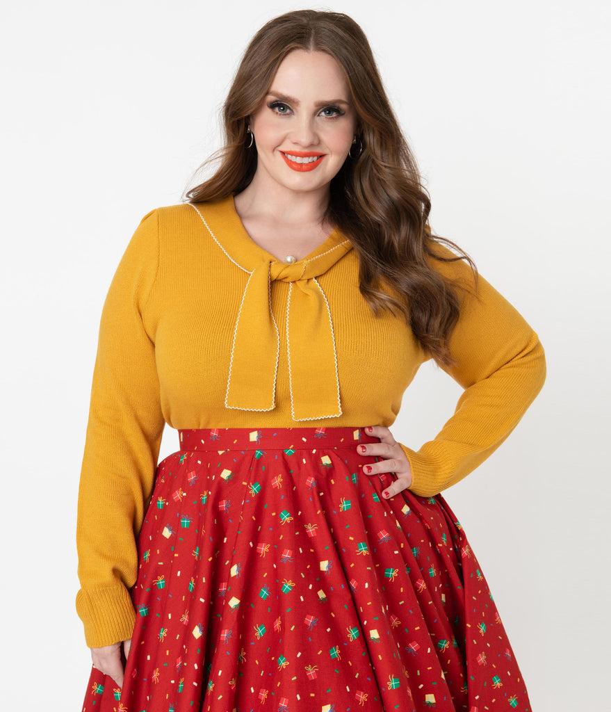 Hell Bunny Plus Size Mustard Sailor Bow Connie Sweater
