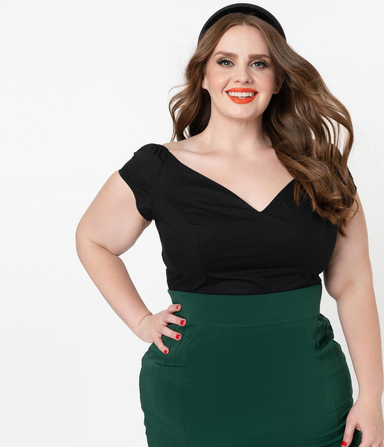 Hell Bunny Plus Size Black Sleeveless Petunia Top