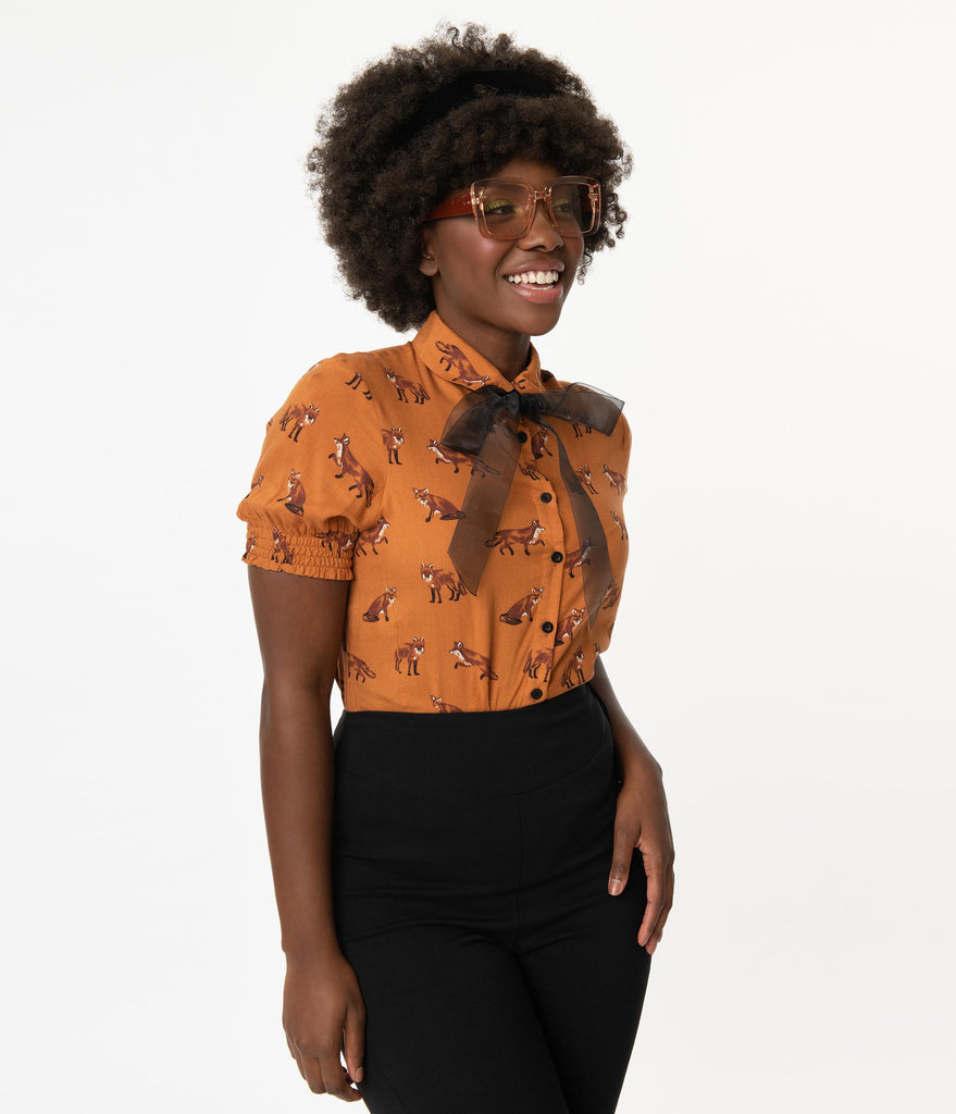 Hell Bunny Brown & Fox Print Vixey Blouse
