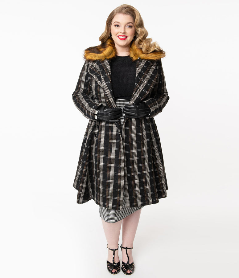 Hell Bunny Plus Size Black & Ivory Plaid Brooklyn Coat
