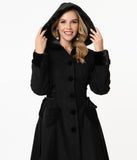 Hell Bunny 1950s Black Scarlet Swing Coat