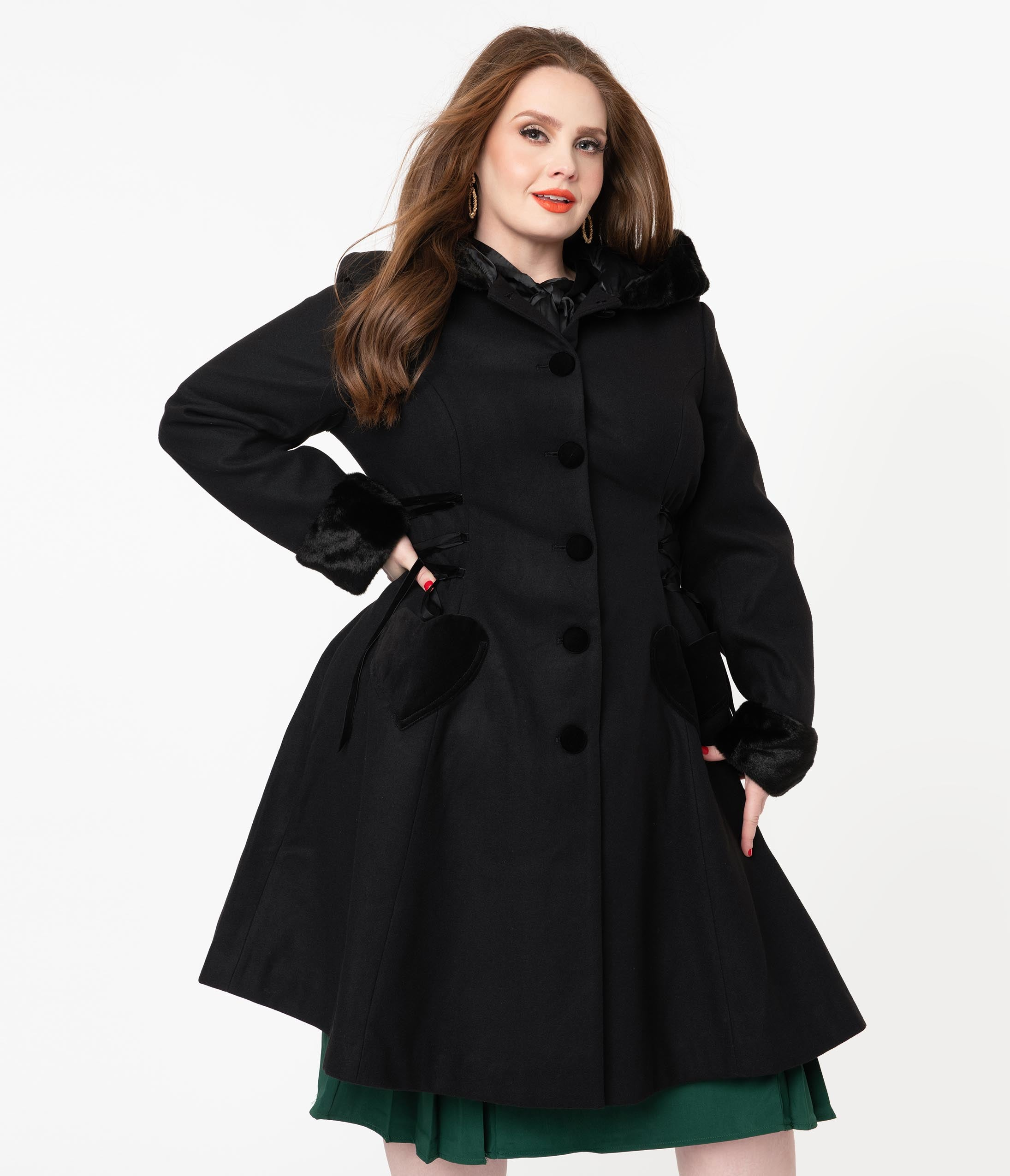 1950s Jackets, Coats, Bolero | Swing, Pin Up, Rockabilly Hell Bunny Plus Size 1950S Black Scarlet Swing Coat $250.00 AT vintagedancer.com