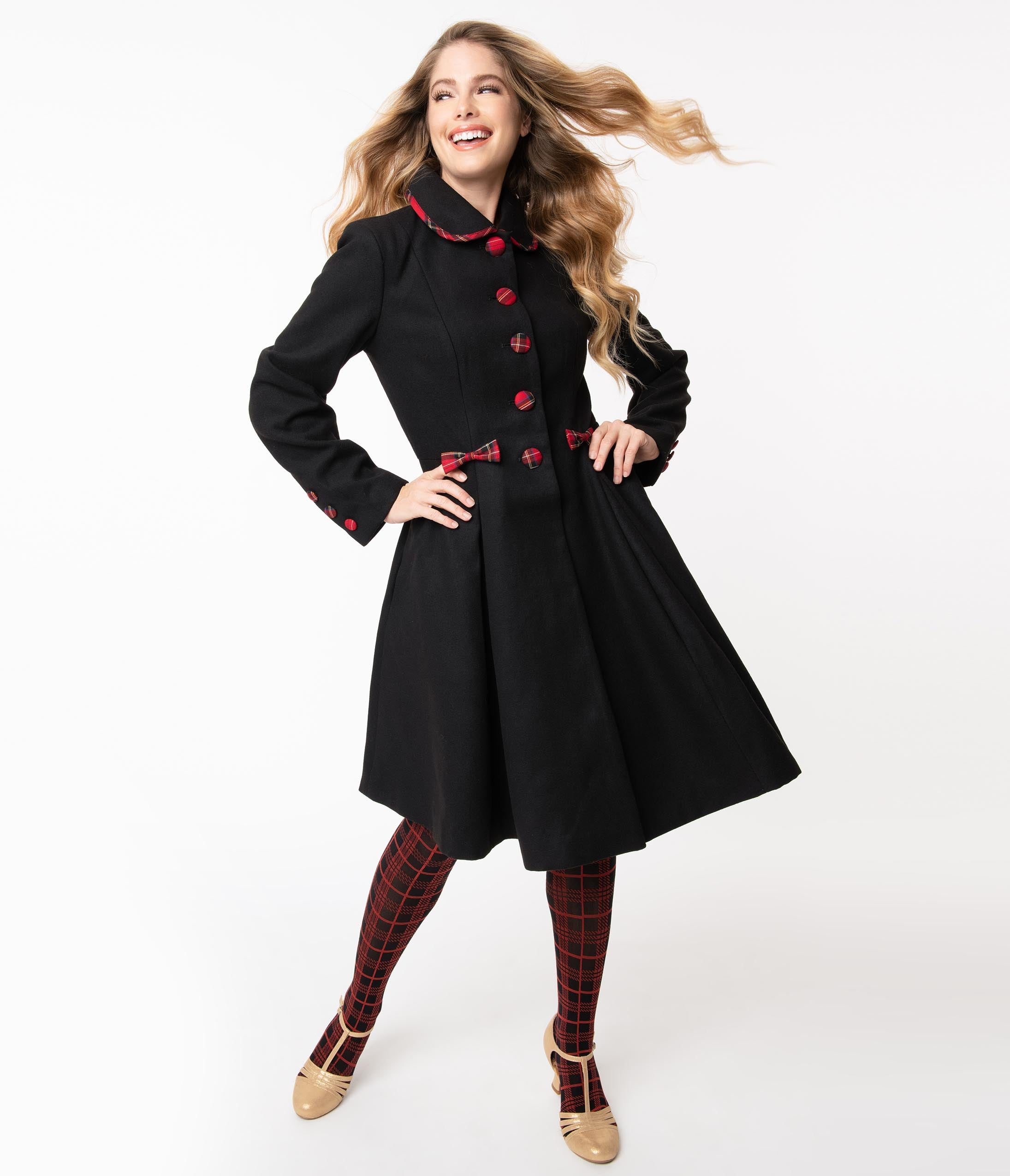1950s Jackets, Coats, Bolero | Swing, Pin Up, Rockabilly Hell Bunny 1950S Black Tiddlywinks Coat $198.00 AT vintagedancer.com