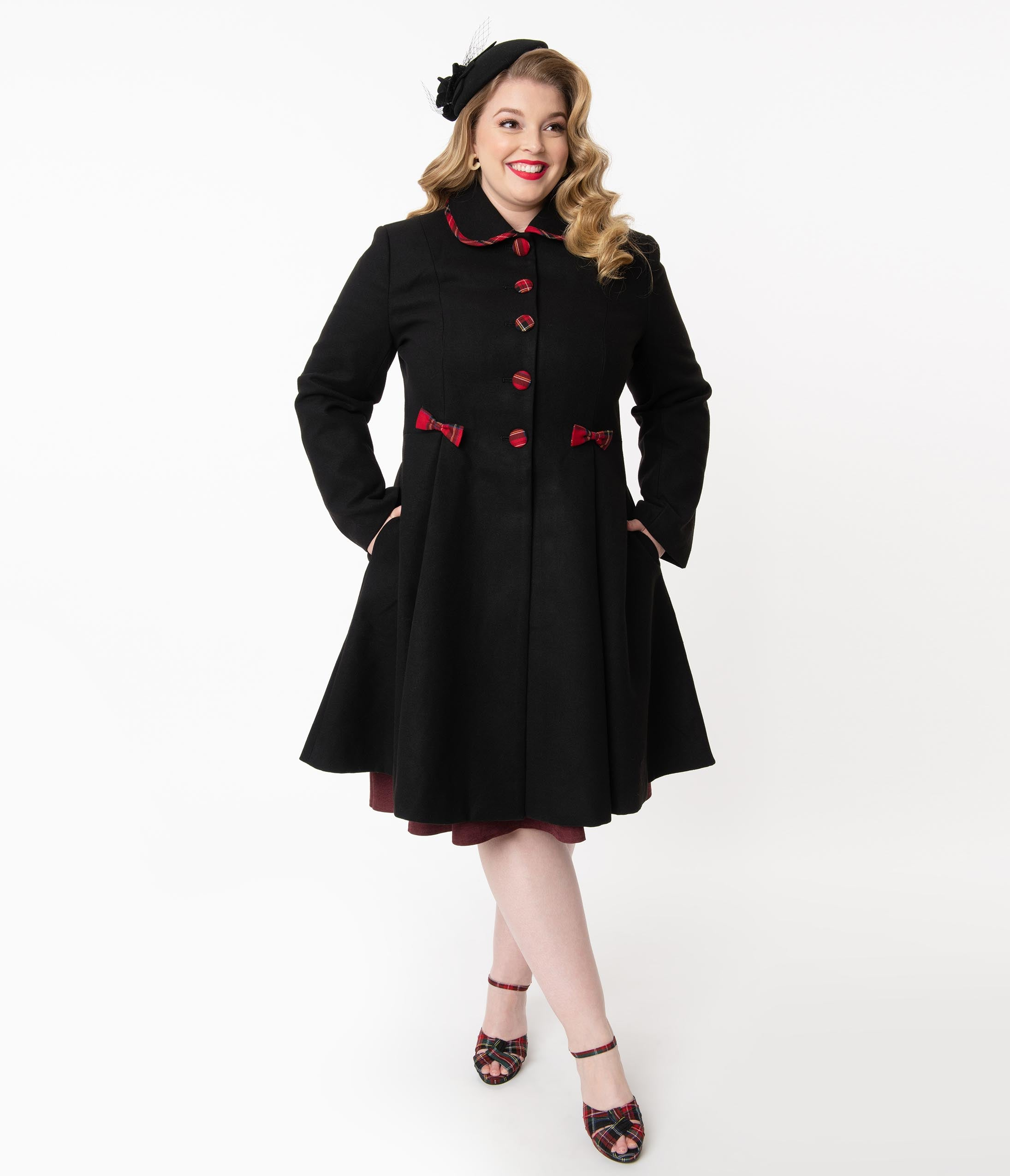 1950s Jackets, Coats, Bolero | Swing, Pin Up, Rockabilly Hell Bunny Plus Size 1950S Black Tiddlywinks Coat $198.00 AT vintagedancer.com