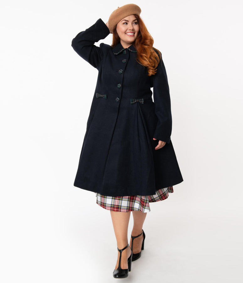 Hell Bunny Plus Size 1950s Navy Tiddlywinks Coat