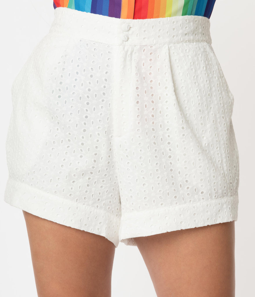 Unique Vintage Plus Size White Eyelet High Waist Stella Shorts