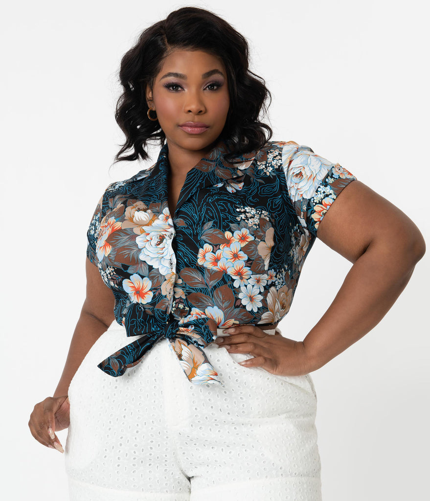 Unique Vintage Plus Size Navy Floral Filigree Print Shirley Crop Top
