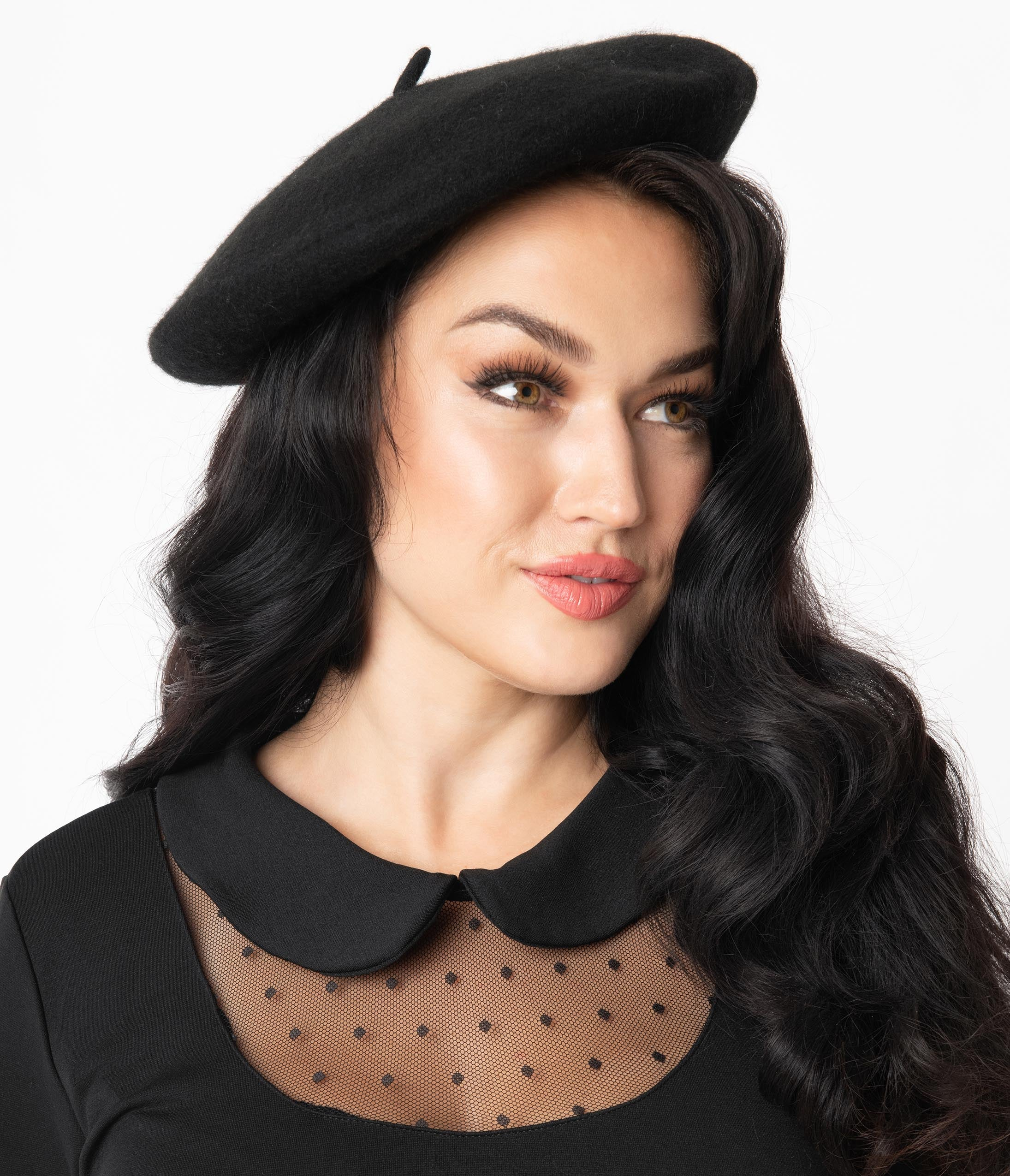 Tea Party Hats – Victorian to 1950s Unique Vintage Black Mon Amour Beret $18.00 AT vintagedancer.com