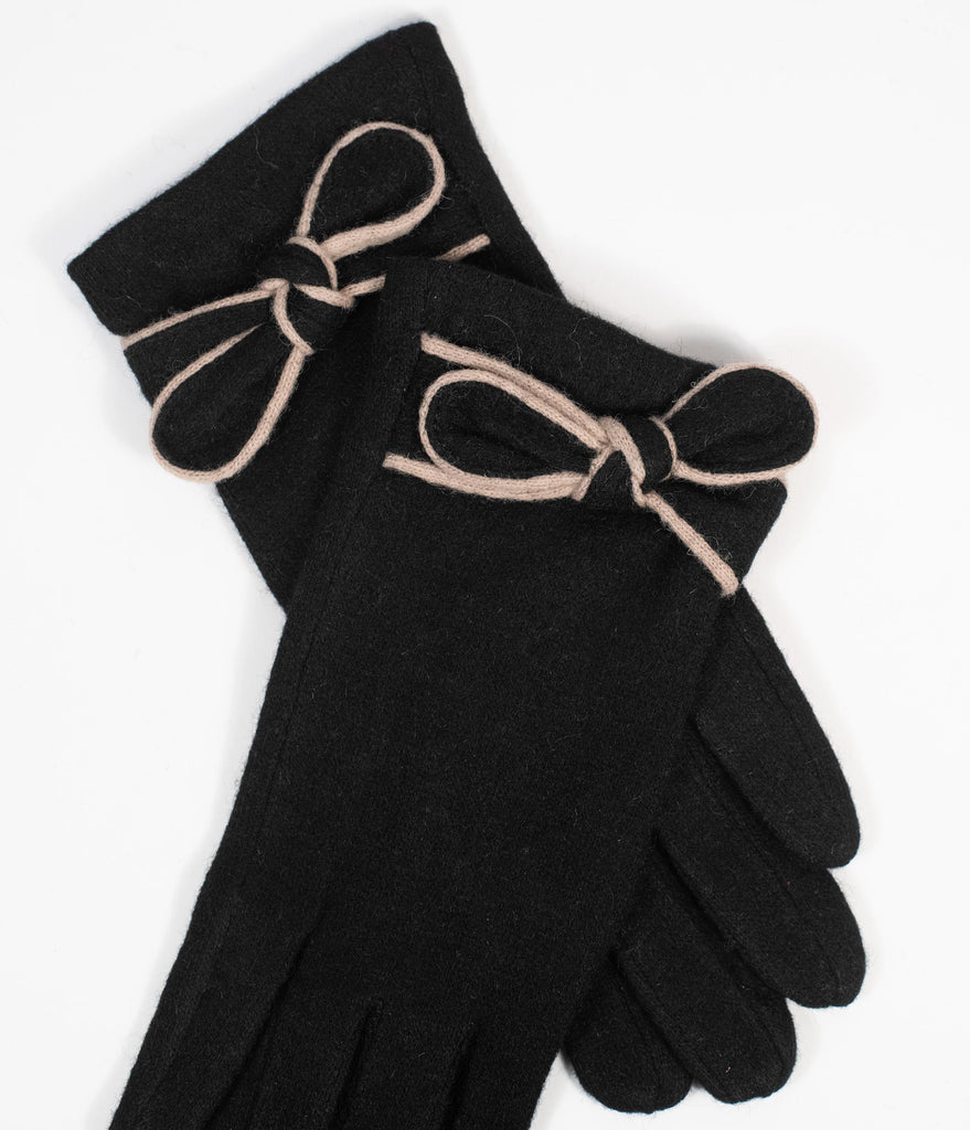 Unique Vintage Black & Beige Bow Wrist Gloves