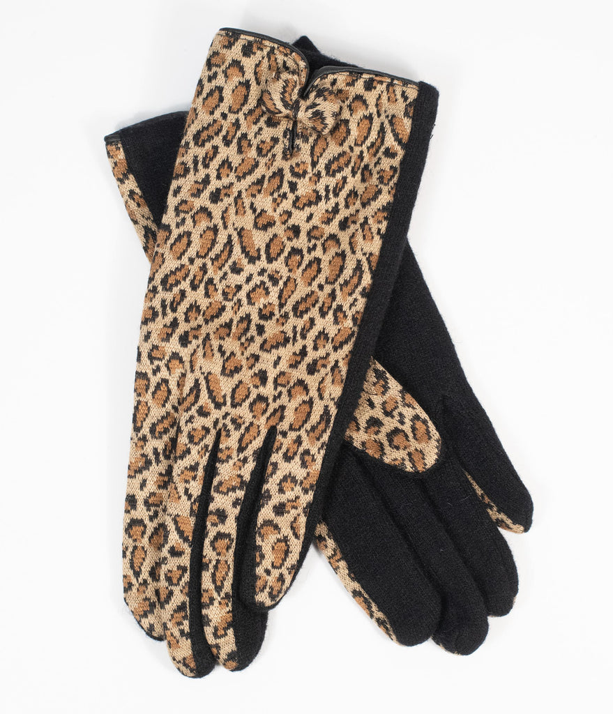 Unique Vintage Leopard Bow Wrist Gloves