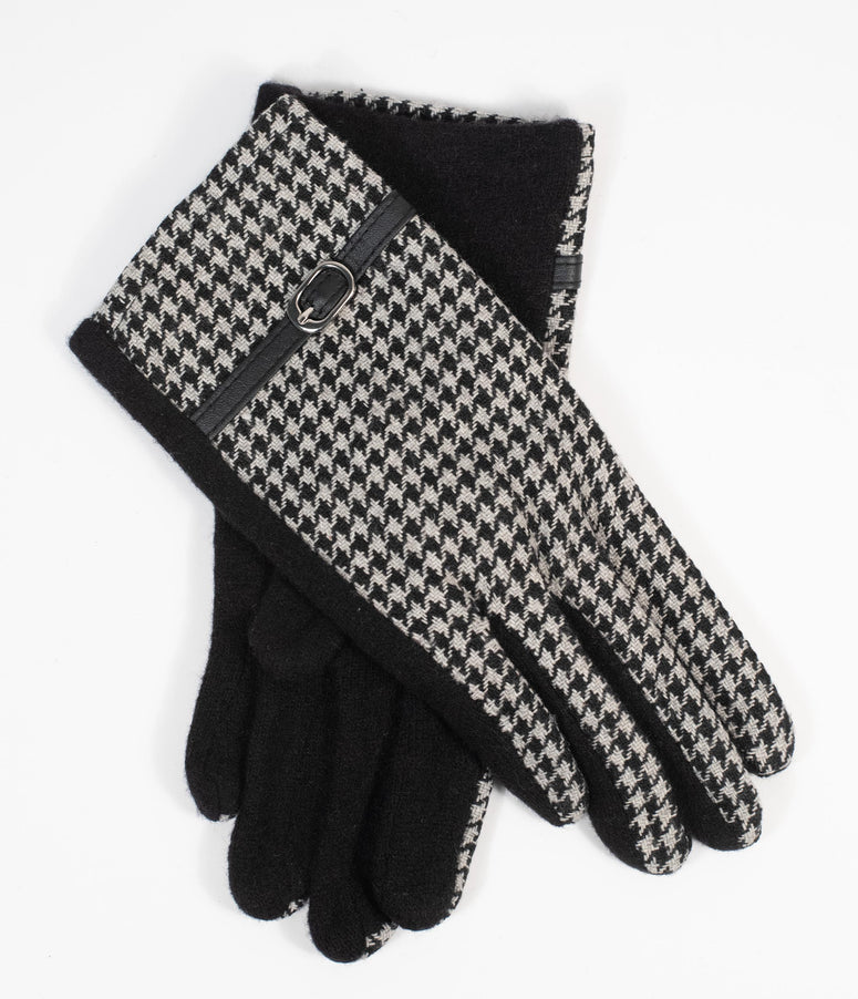 Unique Vintage Black & White Houndstooth Buckle Wrist Gloves