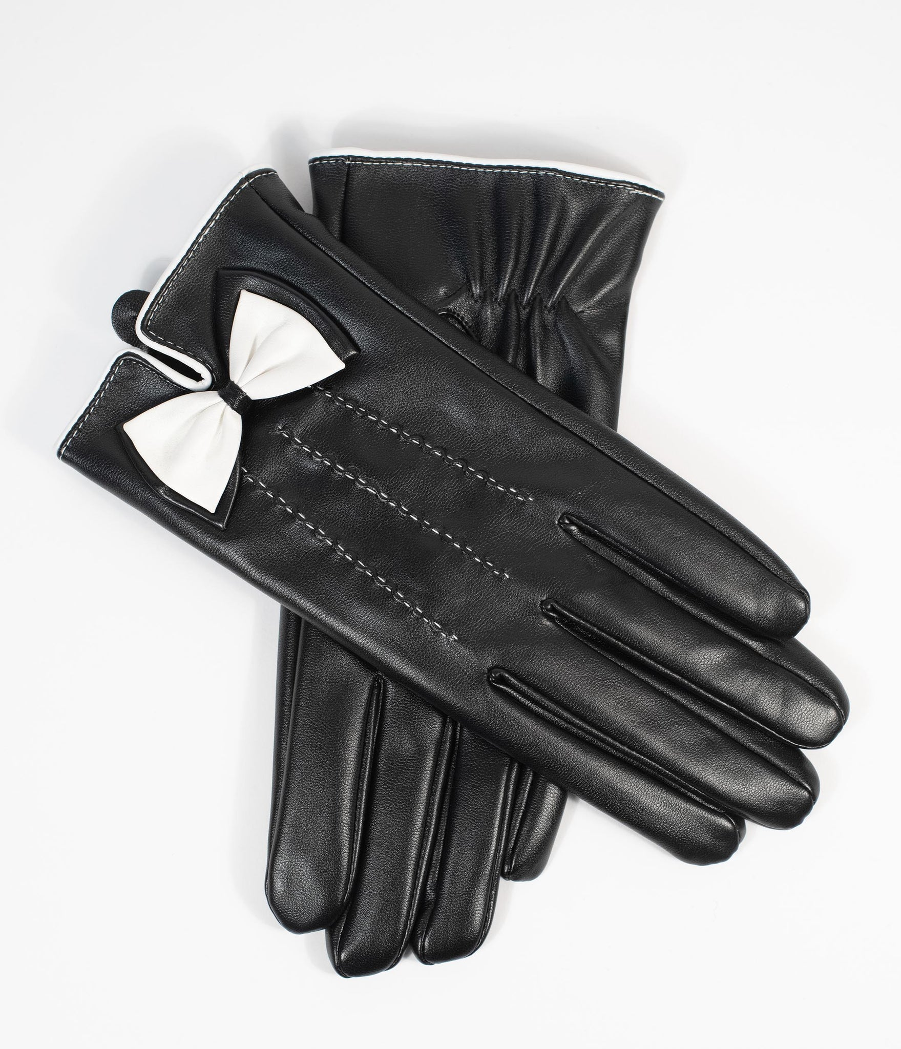 Unique Vintage Black Leatherette & White Bow Wrist Gloves